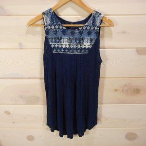 Lucky Brand Sleeveless Top Embroidered Navy Blue